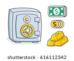 money safe box  coins and... | Shutterstock .eps vector #616112342