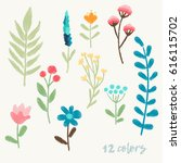 bright floral elements for... | Shutterstock .eps vector #616115702