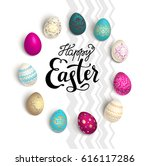 color easter eggs with happy... | Shutterstock .eps vector #616117286