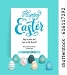 color easter eggs with happy... | Shutterstock .eps vector #616117292