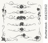 flourish roses ornament vector... | Shutterstock .eps vector #616121012