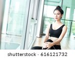 asian woman sitting and rest... | Shutterstock . vector #616121732