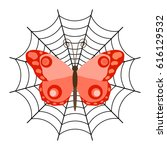 red butterfly in the spider web....   Shutterstock .eps vector #616129532