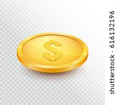 gold coin. money isolated on a... | Shutterstock .eps vector #616132196
