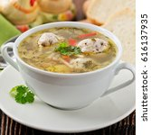 chicken soup with meatballs | Shutterstock . vector #616137935