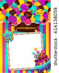 greeting card with birthday... | Shutterstock .eps vector #616138058
