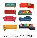 sofa interior design collection....   Shutterstock .eps vector #616139108
