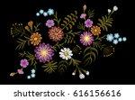 pattern of flowers on a black... | Shutterstock .eps vector #616156616