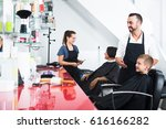 cheerful man hairdresser and... | Shutterstock . vector #616166282