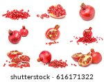 collage of pomegranates... | Shutterstock . vector #616171322