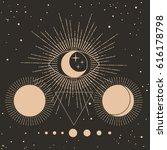 sacred geometry. solar system ... | Shutterstock .eps vector #616178798