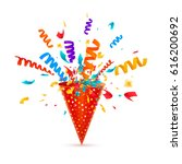 exploding party popper with... | Shutterstock .eps vector #616200692