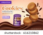 sandwich chocolate cookies... | Shutterstock .eps vector #616210862