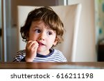 little child toddler boy in the ... | Shutterstock . vector #616211198