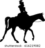 lady riding horse silhouette  ... | Shutterstock .eps vector #616219082