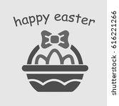 easter eggs basket. happy... | Shutterstock .eps vector #616221266