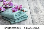 spa still life setting with... | Shutterstock . vector #616238066