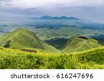 view of aso volcano mountain... | Shutterstock . vector #616247696