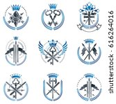 vintage weapon emblems set.... | Shutterstock .eps vector #616264016