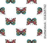 embroidery colorful butterfly.... | Shutterstock .eps vector #616265762