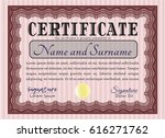 red awesome certificate... | Shutterstock .eps vector #616271762