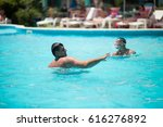 young man swimming in the... | Shutterstock . vector #616276892