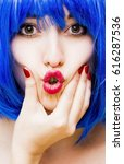 beauty woman with blue wig.... | Shutterstock . vector #616287536