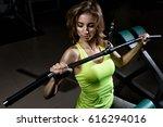 young blonde girl doing an... | Shutterstock . vector #616294016