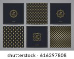 luxury retro wedding cards with ... | Shutterstock .eps vector #616297808