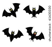 cute vector bat in 4 different... | Shutterstock .eps vector #61630330