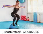pretty athletic woman uses...   Shutterstock . vector #616309016