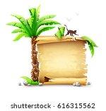 old yellow paper manuscript...   Shutterstock .eps vector #616315562