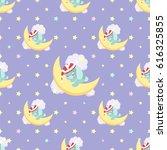 cute bunny sleeping on the moon ...   Shutterstock .eps vector #616325855