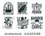 monochrome vintage barber shop... | Shutterstock .eps vector #616329188