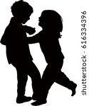 children palying  silhouette... | Shutterstock .eps vector #616334396