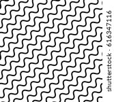 Vector seamless pattern, diagonal wavy lines, smooth bends. Simple monochrome black & white background, geometric repeat texture. Design element for prints, decoration, textile, digital, furniture   Shutterstock vector #616347116
