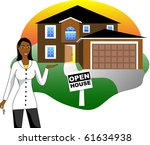 Raster version Illustration. A real estate agent with keys advertising an open house viewing. Version 3 of 6. - stock photo