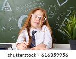 little school girl school... | Shutterstock . vector #616359956