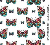embroidery colorful butterflies.... | Shutterstock .eps vector #616360052