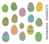 a set of vector bright eggs | Shutterstock .eps vector #616362272