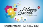 happy easter egg hunt color... | Shutterstock .eps vector #616367132
