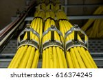 yellow network cables with... | Shutterstock . vector #616374245
