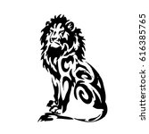 hand drawn lion head silhouette ... | Shutterstock .eps vector #616385765