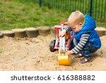 little  two years old boy is...   Shutterstock . vector #616388882