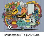 hipster hand drawn crazy doodle ...   Shutterstock .eps vector #616404686