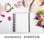 notepad with blank paper and... | Shutterstock . vector #616405136