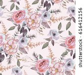 Stock photo seamless watercolor floral pattern with flower composition on bright background perfect for 616412156