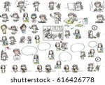 girl life and action set | Shutterstock .eps vector #616426778