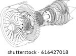 Jet Engine Isometrics. Vector...