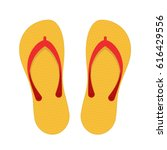 Beach Slippers Icon Isolated O...